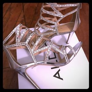 Aldo Norta Silver Beaded High Evening Heels